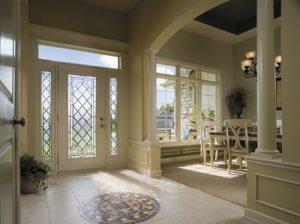 white fiberglass entry door Pella`